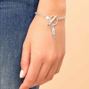 Gorjana Nora Silver Hammered Toggle Bracelet NWT
